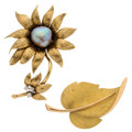 Estate Jewelry:Brooches - Pins, Diamond, Freshwater Cultured Pearl, Gold Brooches. ... (Total: 2 Items)