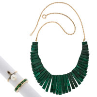 Diamond, Malachite, Cultured Pearl, Gold, Silver-Topped Gold Jewelry Lot ... (Total: 3 Items)