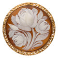Estate Jewelry:Brooches - Pins, Shell Cameo, Gold Pendant-Brooch. ...