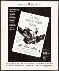 """Sunset Boulevard (Paramount, 1950). Fine. Pressbook (26 Pages, 12.25"""" X 15"""") with Ad Supplements (2). Film Noi..."""