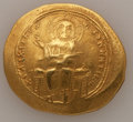 Ancients:Byzantine, Ancients: Isaac I Comnenus (AD 1057-1059). AV histamenon nomisma (25mm, 4.44 gm, 6h). XF, die shift. ...
