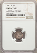 Seated Half Dimes, 1862 H10C -- Artificial Toning -- NGC Details. Unc. Mintage 1,492,550....