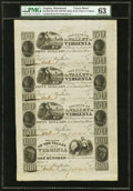 Obsoletes By State:Virginia, Winchester, VA- Bank of the Valley in Virginia $50-$50-$50-$100 18__ G36-G36-G36-G40 Jones BW50-47-47-47-52 Uncut Sheet PM...