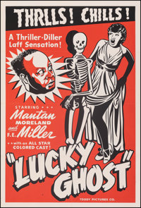 """Lucky Ghost (Toddy Pictures, R-1943). Very Fine- on Linen. One Sheet (28""""X 41.5""""). Black Films"""