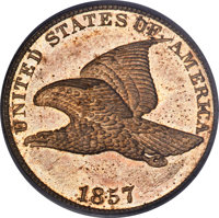 1857 1C Flying Eagle PR64 PCGS. CAC. The Guide Book records an estimated mintage of 100 proof Flying Eagle cents in 185...
