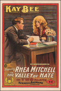"""The Valley of Hate (Mutual, 1915). Fine+ on Linen. One Sheet (28.25"""" X 42""""). Drama"""