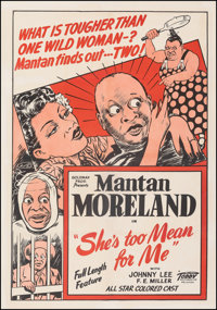 """She's Too Mean for Me (Toddy Pictures, 1948). Fine+ on Linen. One Sheet (28"""" X 40""""). Black Films"""