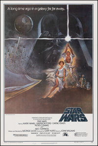 """Star Wars (20th Century Fox, 1977). Very Fine +on Linen. Second Printing One Sheet (275"""" X 41"""") Style A, Tom J..."""