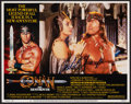 """Movie Posters:Action, Conan the Barbarian & Other Lot (Universal, 1982). Very Fine-. Cast Photos (2) (16"""" X 12"""") & Autographed Lobby Card (11"""" X 1... (Total: 3 Items)"""