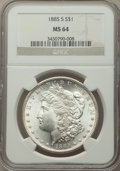Morgan Dollars: , 1885-S $1 MS64 NGC. NGC Census: (1405/251). PCGS Population: (2743/738). CDN: $525 Whsle. Bid for NGC/PCGS MS64. Mintage 1,...