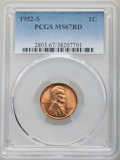 Lincoln Cents: , 1952-S 1C MS67 Red PCGS. PCGS Population: (224/0). NGC Census: (438/0). CDN: $115 Whsle. Bid for NGC/PCGS MS67. Mintage 137...