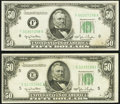 Fr. 2107-E; F $50 1950 Federal Reserve Notes. About Uncirculated or Better. ... (Total: 2 notes)