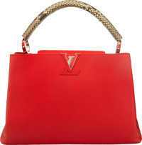 "Louis Vuitton Red Calfskin Leather & Python Capucines MM Bag Condition: 2 14"" Width x 9.5"" Height x 5.5&qu..."