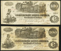 Confederate Notes:1862 Issues, T39 $100 1862 Two Examples Extremely Fine or Better.. ... (Total: 2 notes)