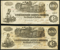 T39 $100 1862 Two Examples Extremely Fine or Better. ... (Total: 2 notes)