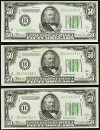 Fr. 2102-B $50 1934 Dark Green Seal Federal Reserve Notes. Three Examples. Extremely Fine-About Uncirculated or Better...