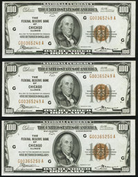Fr. 1890-G $100 1929 Federal Reserve Bank Notes. Three Consecutive Examples. Choice About Uncirculated to Crisp Uncircul...