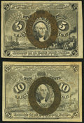Fr. 1233 5¢ Second Issue About New; Fr. 1244 10¢ Second Issue About New. ... (Total: 2 notes)