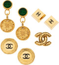 Luxury Accessories:Accessories, Chanel Set of Four: Gold Brooch and Earrings. Condition: 3. See Extended Condition Report for Sizes.... ... (Total: 4 )