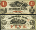 Bainbridge, GA- Southern Bank of Georgia $1 Mar. 1, 1858; $5 Jan. 1, 1858 Very Fine or Better. ... (Total: 2 notes)