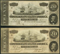 T67 $20 1864 Two Examples Very Fine-Extremely Fine or Better. ... (Total: 2 notes)