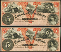 Hollidaysburg, PA- Central Bank of Pennsylvania $5 18__, Two Remainders Extremely Fine-About Uncirculated. ... (Total: 2...