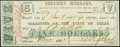 Austin, TX- Treasury Warrant $5 Nov. 11, 1862 Cr. 14 Medlar 126 Very Fine-Extremely Fine