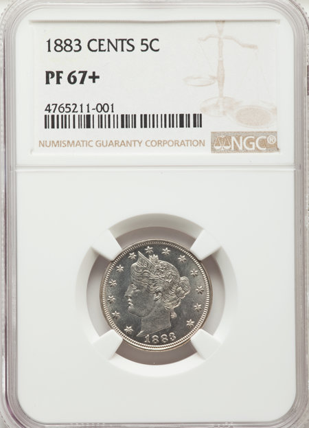 1883 5C WITH CENTS NGC Plus 67 NGC