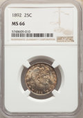 1892 25C MS66 NGC. NGC Census: (81/22). PCGS Population: (115/37). CDN: $850 Whsle. Bid for NGC/PCGS MS66. Mintage 8,237...