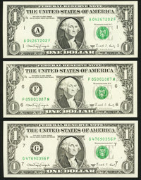 Fr. 1917-A; F; G $1 1988A Web Federal Reserve Notes. Choice Crisp Uncirculated. ... (Total: 3 notes)