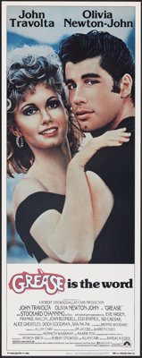 """Grease (Paramount, 1978). Rolled, Very Fine/Near Mint. Insert (14"""" X 36""""). Musical"""