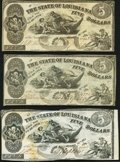 Obsoletes By State:Louisiana, Baton Rouge, LA- State of Louisiana $5 Oct. 10, 1862 Cr. 14, Three Examples Very Fine or Better.. ... (Total: 3 notes)