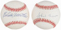 Autographs:Baseballs, Eddie Mathews & Hank Aaron Single Signed Baseballs.