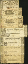 Raleigh, NC- State of North Carolina 10¢; 50¢ (2); $1; $2 (3) 1861-63 Good or Better. ... (Total: 7 notes)
