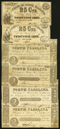 Raleigh, NC- State of North Carolina 25¢ (2); $2 (4) 1861-63 Very Good or Better