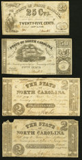 Raleigh, NC- State of North Carolina 25¢; 50¢; $2 (2) 1861-63 Very Good or Better