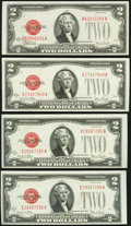 Fr. 1507 $2 1928F Legal Tender Note. Choice About Uncirculated; Fr. 1508 $2 1928G Legal Tender Notes. Three Examples. Ex...