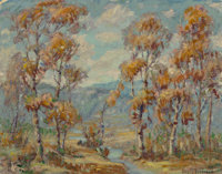 American School (20th Century) Autumn in the Mountains Oil on canvasboard 21-1/2 x 27-1/2 inches (54.6 x 69.9 cm) Si