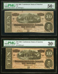 Confederate Notes:1864 Issues, T68 $10 1864 PF-15 Cr. 545 PMG About Uncirculated 50 EPQ;. T68 $10 1864 PF-3 Cr. 541 PMG Very Fine 30 EPQ.. ... (Total: 2 notes)