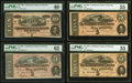Confederate Notes:1864 Issues, 1864 Notes PMG Graded.. T68 $10 Extremely Fine 40 EPQ;. T69 $5 Uncirculated 62;. T69 $5 About Uncirculated 55 (2).... (Total: 4 notes)