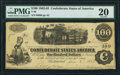 Confederate Notes:1862 Issues, T40 $100 1862 PF-20 Cr. 308 PMG Very Fine 20.. ...