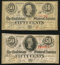 T63 50 Cents 1863 Two Examples Choice About Uncirculated or Better. ... (Total: 2 notes)