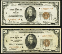 Fr. 1870-K; L $20 1929 Federal Reserve Bank Notes. Very Fine-Extremely Fine; Very Fine. ... (Total: 2 notes)