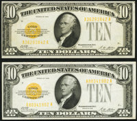 Fr. 2400 $10 1928 Gold Certificates. Two Examples. Very Fine-Extremely Fine or Better. ... (Total: 2 notes)
