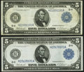 Two Fr. 874 $5 1914 Federal Reserve Notes Very Fine-Extremely Fine or Better. ... (Total: 2 notes)