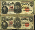 Two Fr. 91 $5 1907 Legal Tender Notes Very Good; Fine. ... (Total: 2 notes)