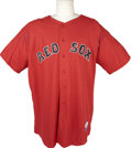 Baseball Collectibles:Uniforms, 2003 Tim Hamulack Boston Red Sox Batting Practice Jersey. Though the big southpaw never pitched in a game for the Sox, he w...