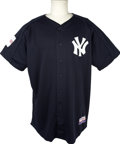 Baseball Collectibles:Uniforms, 2004 Jose Contreras Pre-game Worn Yankees Jersey. At the onset of the 2004 Major League campaign, the league decided to sta...