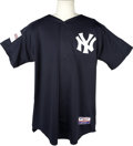 Baseball Collectibles:Uniforms, 2004 Yogi Berra Pre-game Worn Yankees Jersey. At the onset of the 2004 Major League campaign, the league decided to stage a...