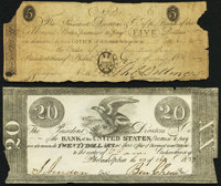Philadelphia, PA- Bank of the United States $5 May 7, 1806; $20 Apr. 10, 1837 Good-Very Good; Very Fine. ... (Total: 2 n...